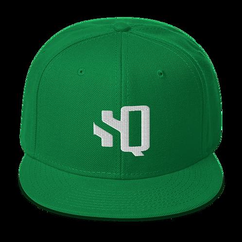 Shot Queens White SQ Logo - Kelly Green Snapback Hat