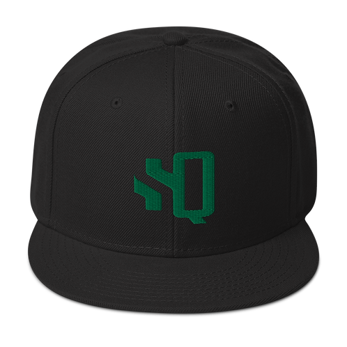 Shot Queens Kelly Green SQ Logo - Black Snapback Hat