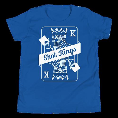 Shot Kings Cornhole Card Royal Blue - Youth Short Sleeve T-Shirt