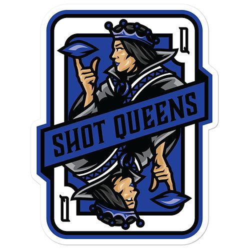 Shot Queens Cornhole Royal Blue Card - Bubble-free stickers