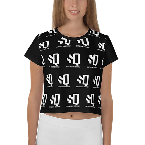 Shot Queens White Pattern - All-Over Print Crop Tee