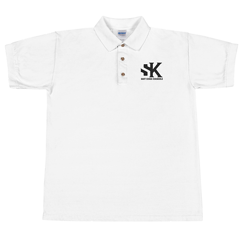 SK Black and White Embroidered Polo Shirt