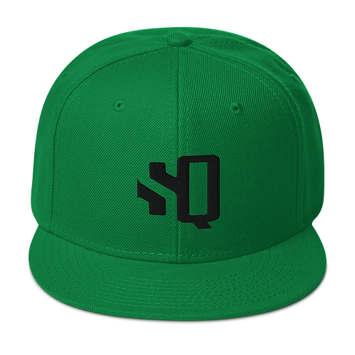 Shot Queens Black SQ Logo - Kelly Green Snapback Hat