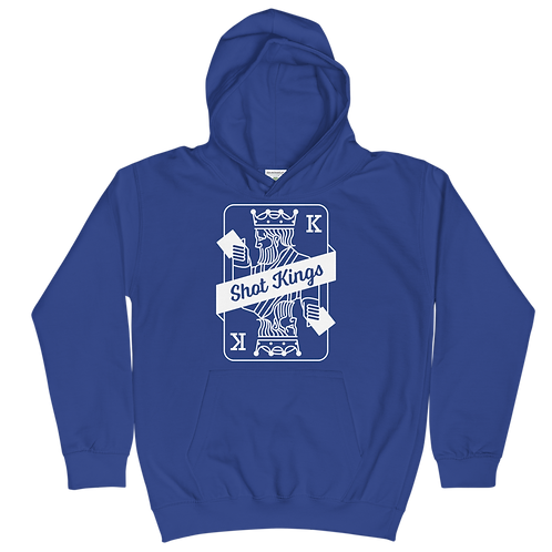Shot Kings Cornhole Card Royal Blue - Kids Hoodie