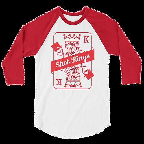 Shot Kings Cornhole Card Red and White - 3/4 sleeve raglan shirt