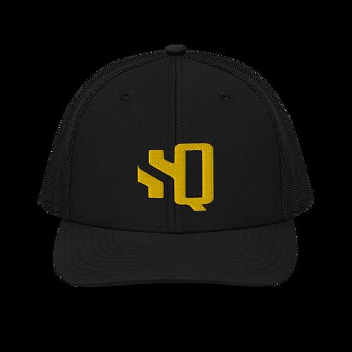 SQ Cornhole Yellow Logo - Black Trucker Cap