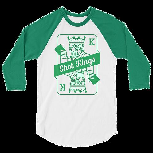 Shot Kings Cornhole Card Kelly Green and White - 3/4 sleeve raglan shirt