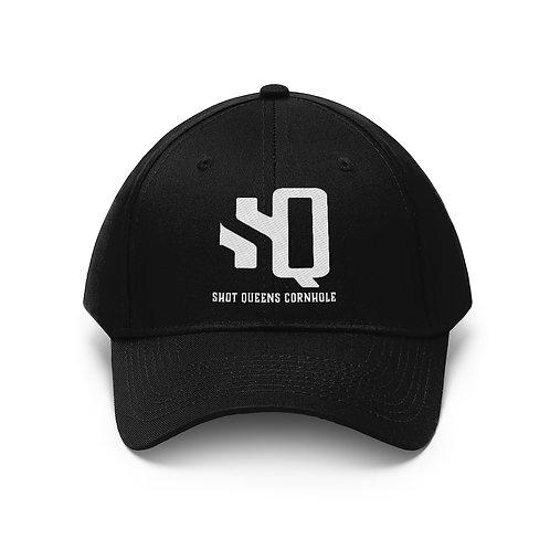 White SQ Logo on Black - Unisex Twill Hat