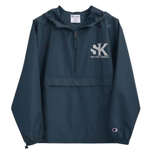 Shot Kings Cornhole White SK Logo - Navy Embroidered Champion Packable Jacket