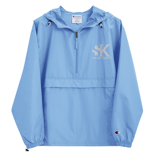 Shot Kings Cornhole White SK - Baby Blue Embroidered Champion Packable Jacket
