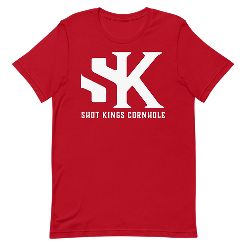 """Red and white """"SK"""" Short-Sleeve Unisex T-Shirt"""
