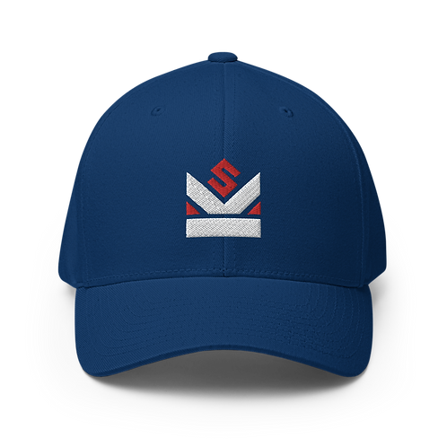 Shot Kings Cornhole Red and White Crown Logo - Blue Structured Twill Cap