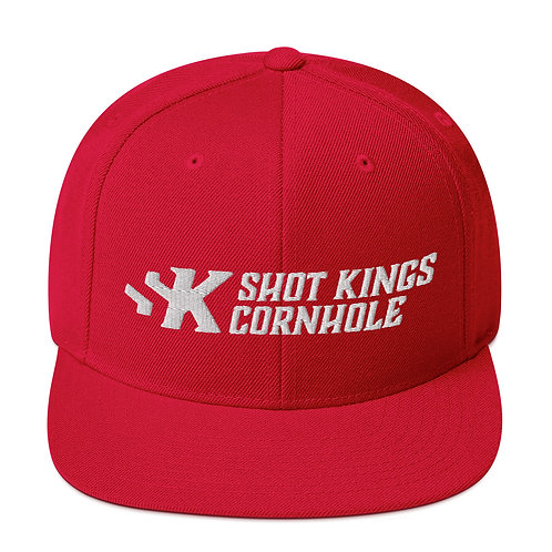 Shot Kings Cornhole White Logo - Red Snapback Hat