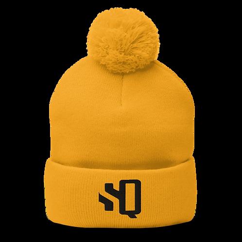 SQ Cornhole Logo - Yellow Pom-Pom Beanie