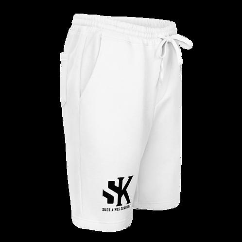 Black SK on White Shot Kings Men's fleece shorts