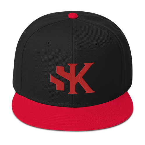 SK Red Logo and Red Brim - Snapback Hat
