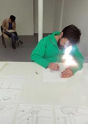 Exposition à la Stork Galerie. Dessin in-situ avec Patrice Marchand