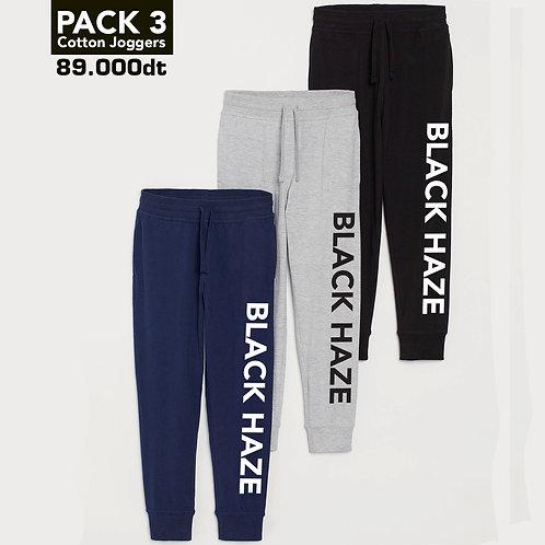 PACK 3 Washed Jogger Sweatpants BOLD (Gray, Blue, Black)
