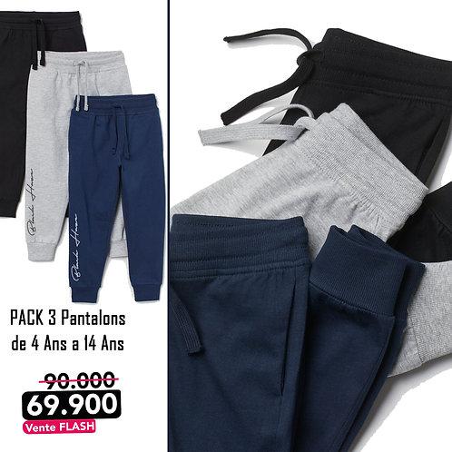 Pack 3 Sweatpants Jogger Vintage (Noir-Gris-Bleu)