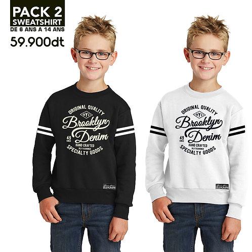 PACK 2 SweatShirts Brooklyn White, Black