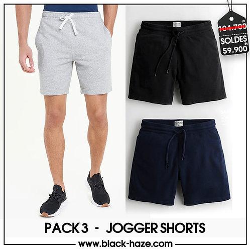 Pack 3 Jogger Shorts Unis By BLACK HAZE