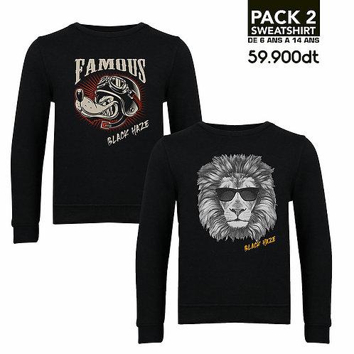 PACK 2 SweatShirts Famous, Lion BLACK