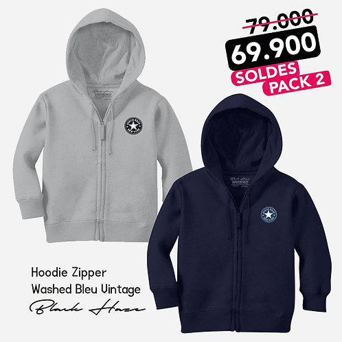 Pack 2  Sweat Capuche Badge Embroidery (Gris-Bleu)