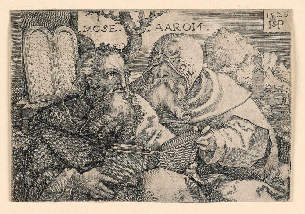 Moses and Aaron, scanned from print, by unknown artist, dated from 1526 | Cooper Hewitt collection at Smithsonian Design Museum