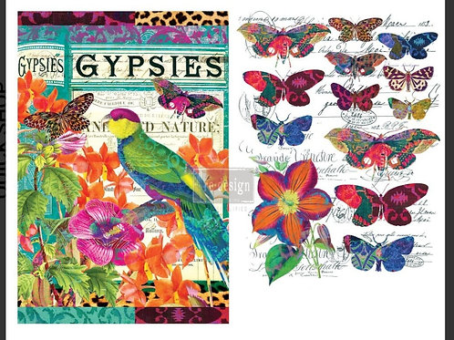 Transfer, boho bird butterfly,  Prima