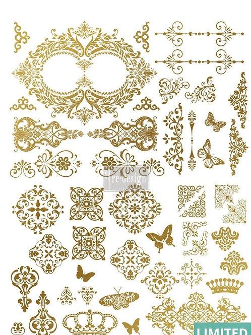 Transfer,  gilded baroque scroll, steampunkstil Prima