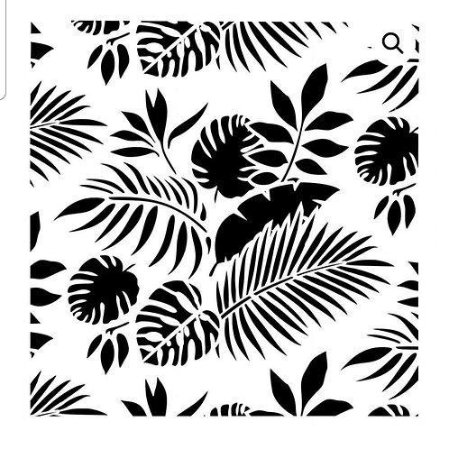 Stor stensil, tropical leaves,  50×50 WB