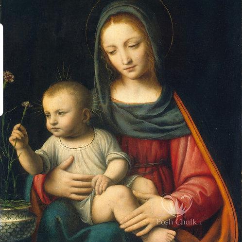 Tynne rispapir,  Madonna &child. WB