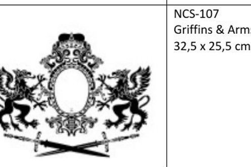 Sjablong, Griffins and Arms. 32,5×25.5