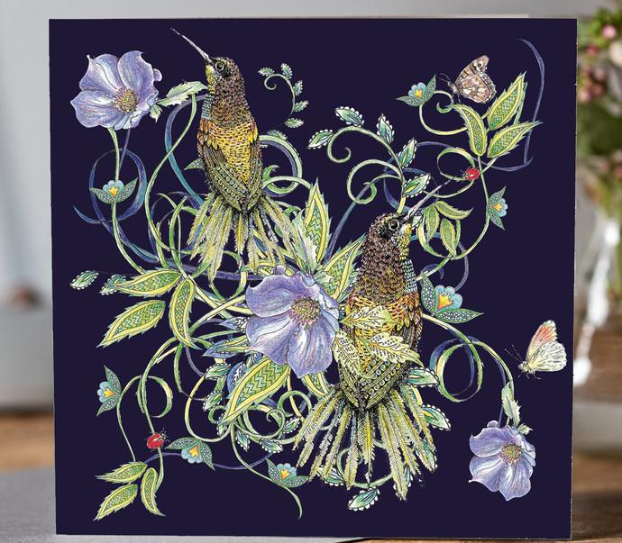 540 Botanical Birds and Flowers Dark Blu