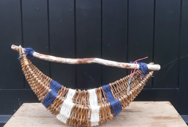 Willow, jute, driftwood handle basket