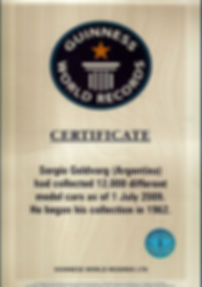 Sergio Goldvarg Guinness World of Records award for the largest scale model car collection worldwide.