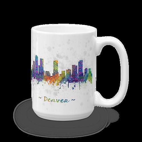 Denver Skyline Watercolor Drawing Coffee Mug