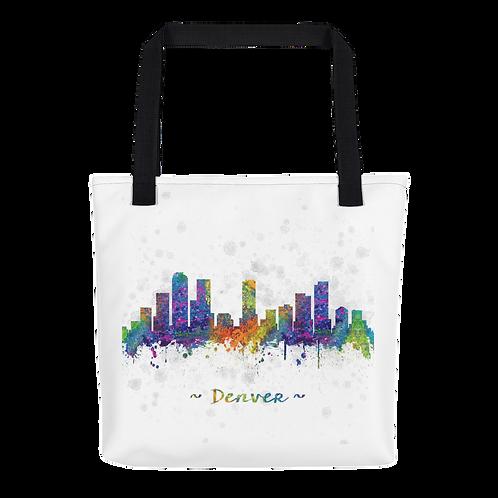 Denver Skyline Watercolor Drawing Tote Bag - Denver Skyline Tote Bag