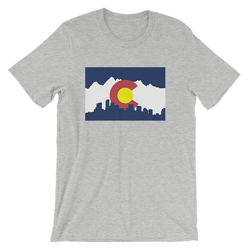 Denver Skyline and Mountains Shirt - Denver Colorado Flag Shirt - Denver Skyline Shirt