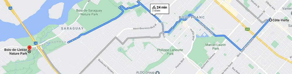 bike route information from metro cote vertu to bois-de-liesse nature park