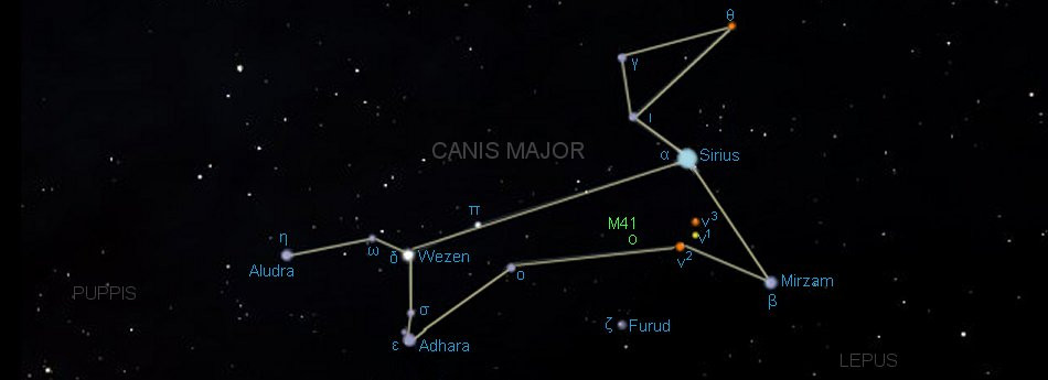 winter constellations stars map canis major dog