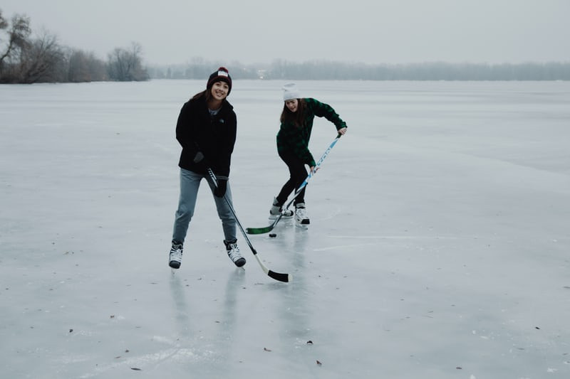 skating outdoors hockey