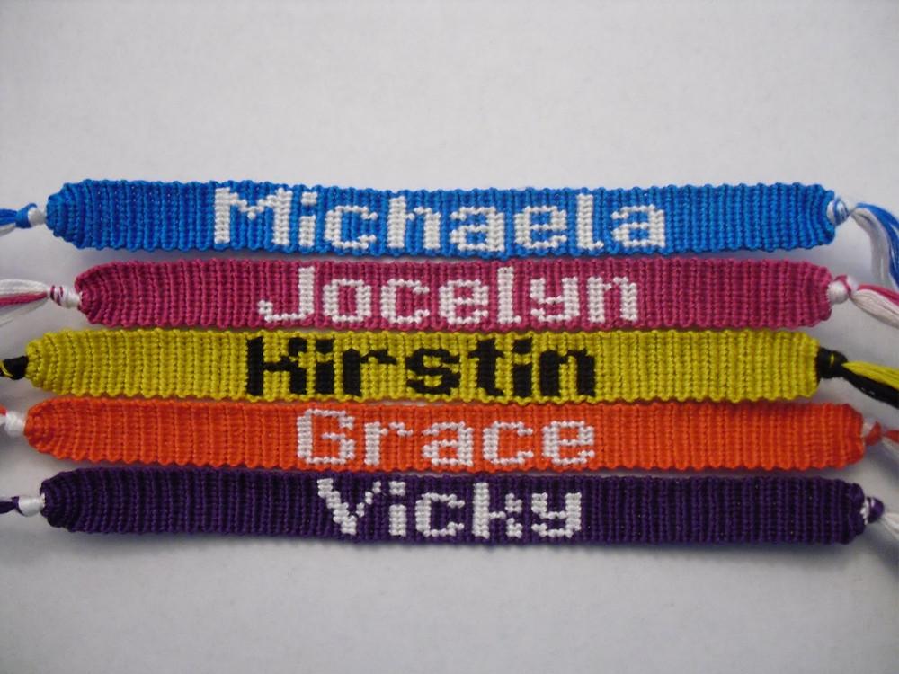 friendship bracelet letters spelling colourful