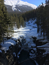 Frozen waterfall at beginning of the trail