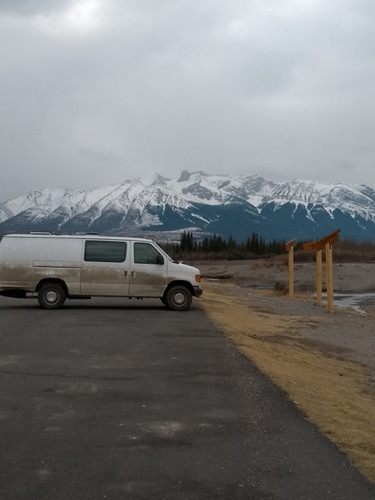 our dirty van in a beautiful backdrop