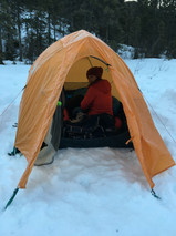 Snow accumulation on our tent in the morning after a cold night to remember