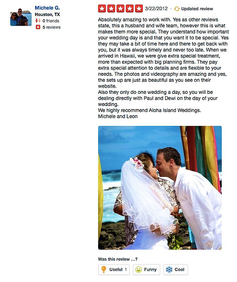 Wedding reviews from yelp -wedding in hawaii