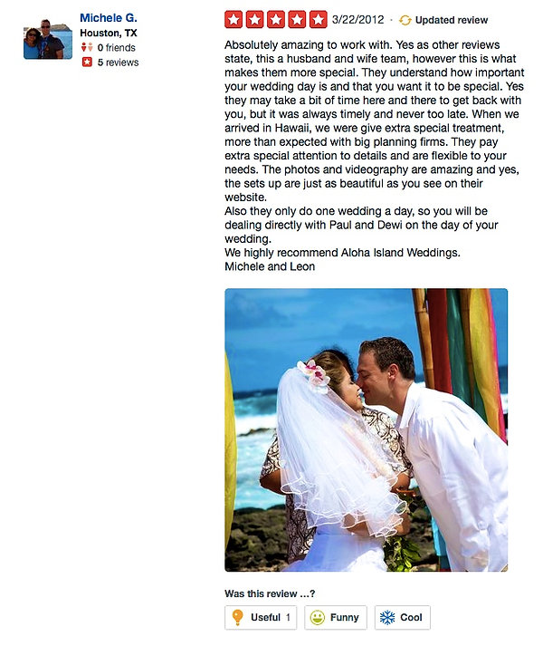 Wedding reviews from yelp -wedding in hawaii