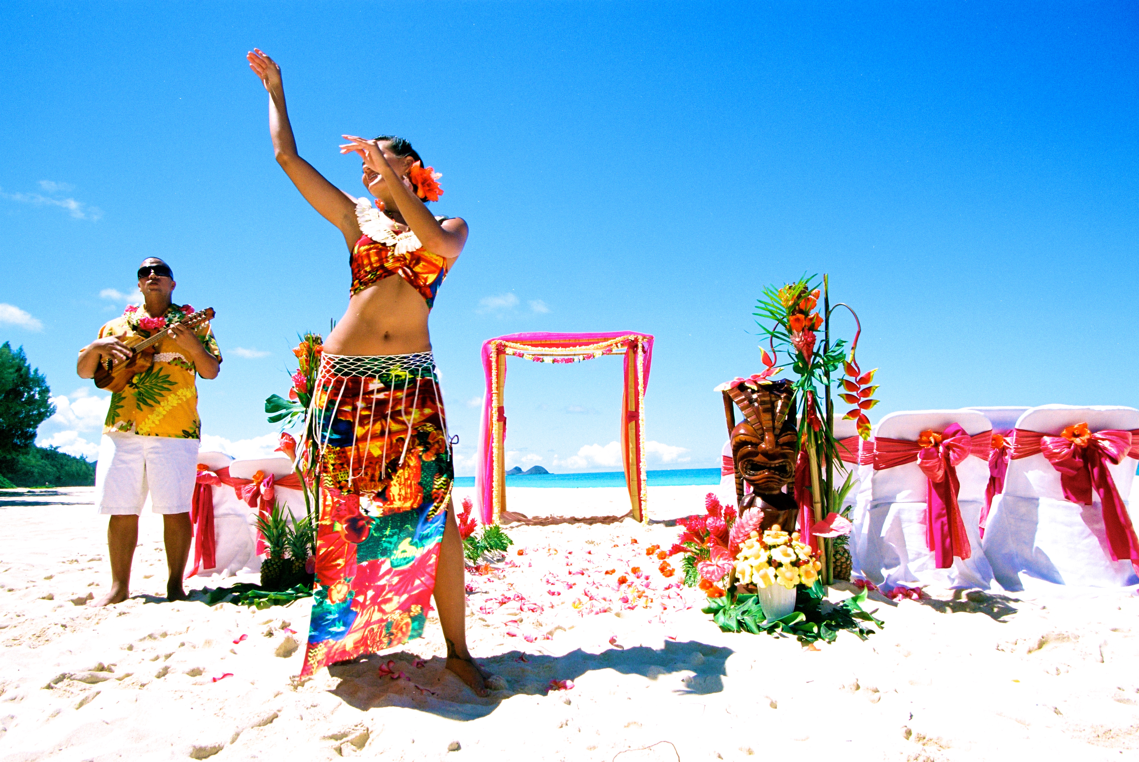 Hawaiian hula dancer with Ukulele 4
