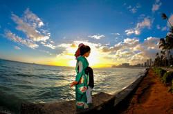 Sunset picture with bride kimono